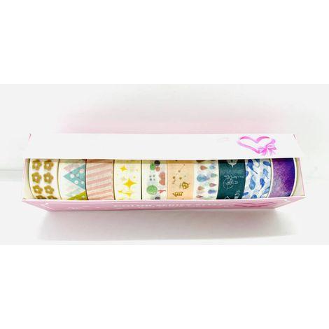 Fita Adesiva Decorada Washi Tape Estampada Kit 10 estampas | Importado