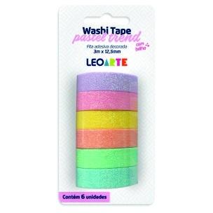 Fita Adesiva Decorada Washi Tape Pastel Trend 3mx12,5mm com 6 | Leonora