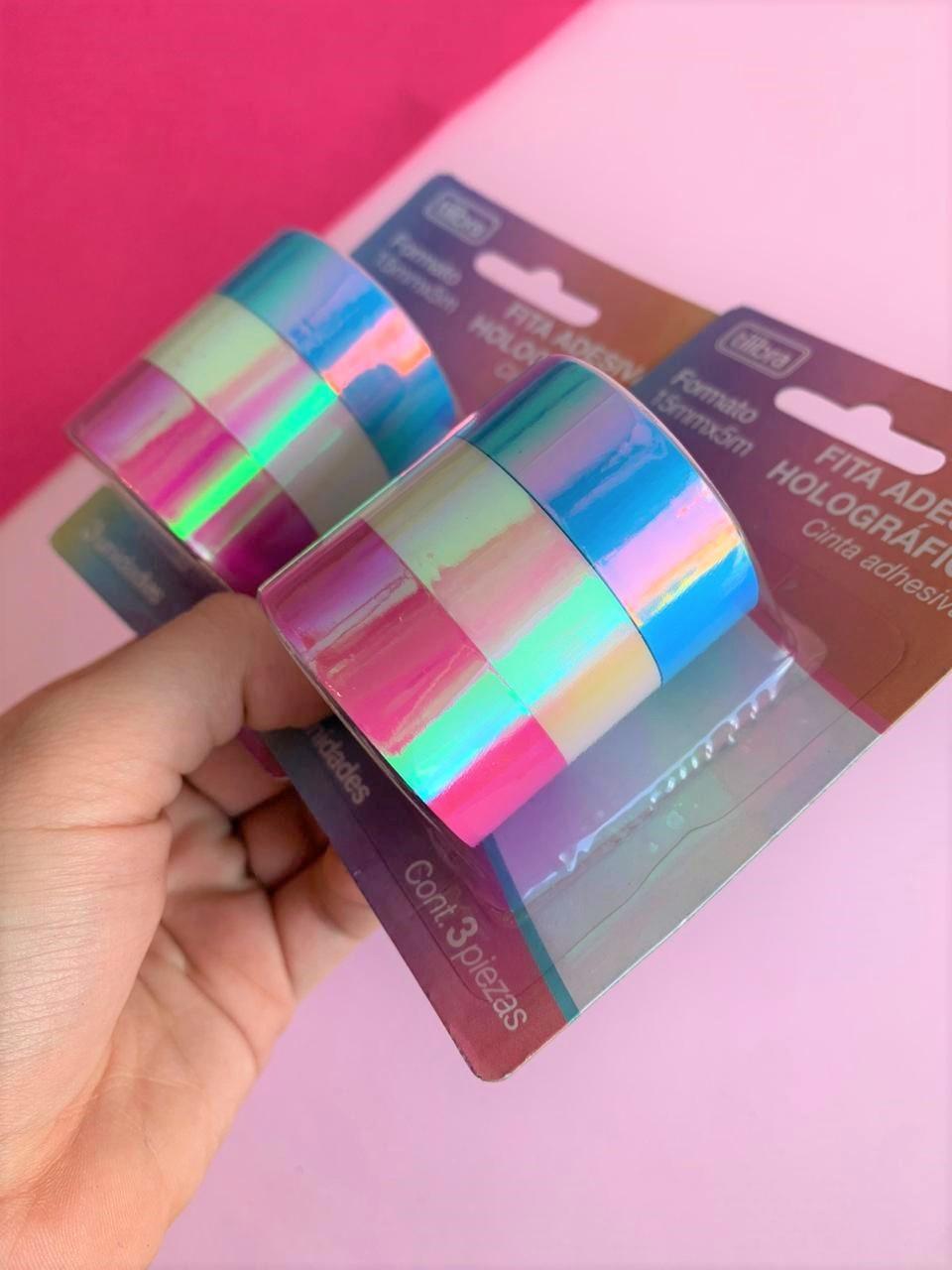 Fita Adesiva Washi Tape Holográfica 15mmX5m - Blister com 3 unidades | Tilibra