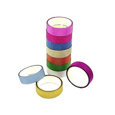 Fita Adesiva Washi Tape Lisa Glitter com 10 cores | Importado