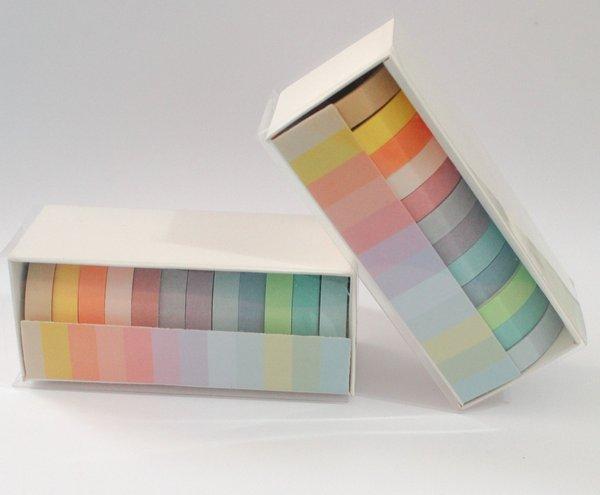 Fita Adesiva Washi Tape Rainbow Pastel 12 Cores | Importado