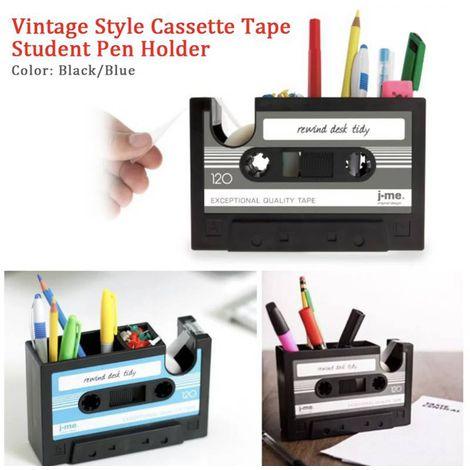 Porta Lápis Fita K7 Cassete com suporte Fita adesiva | Importado