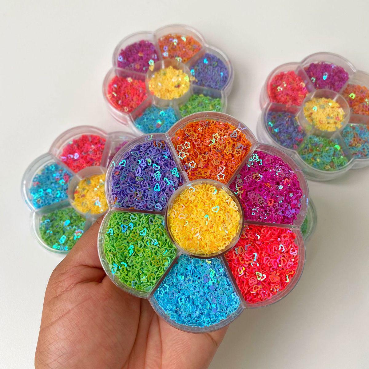 Flor de Glitter Brocal 7 Cores e Formatos Sprinkle Slime | Importado