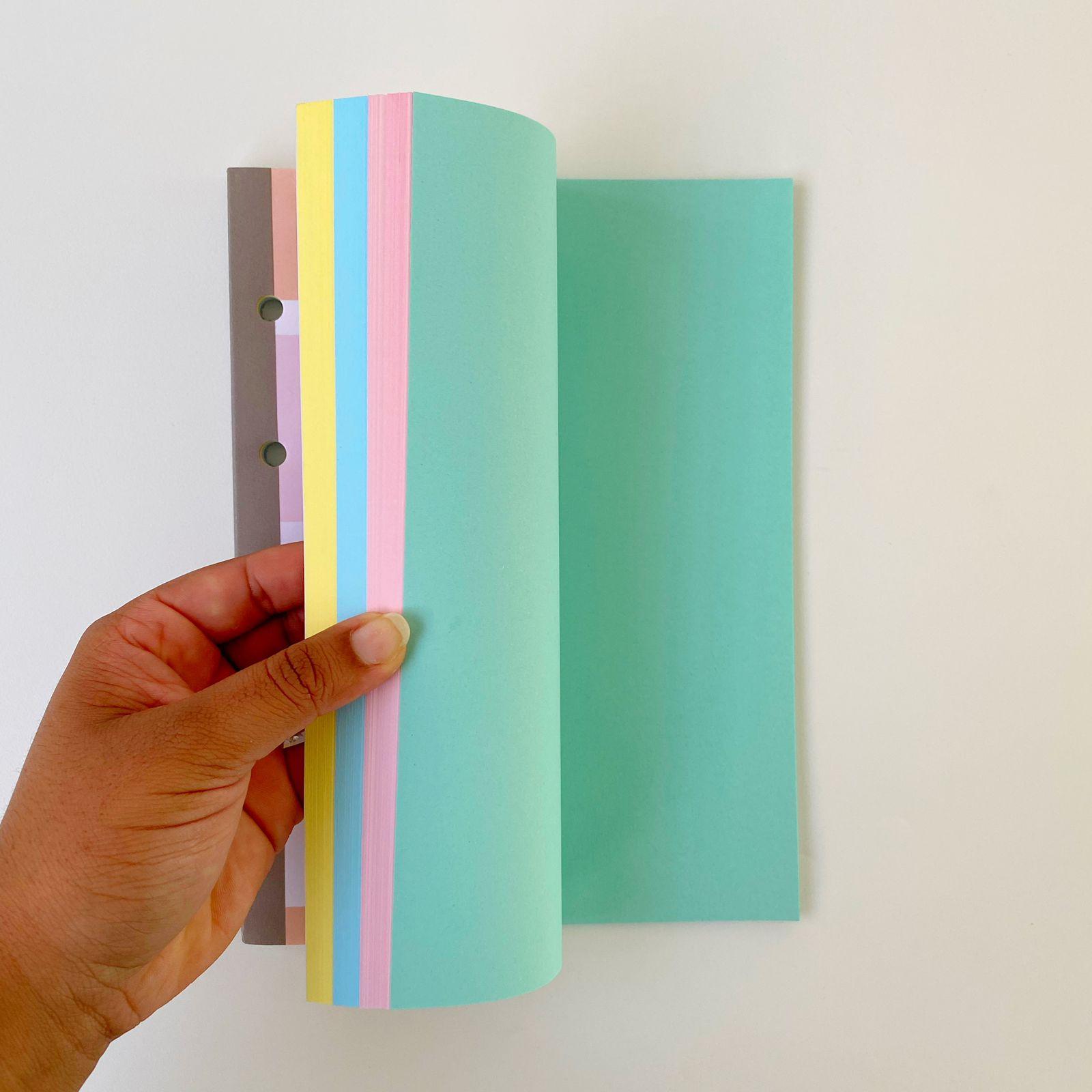 Folhas de Fichário Happy Colegial Coloridas e SEM PAUTA   75gr Tiliflex 80 folhas   Tilibra