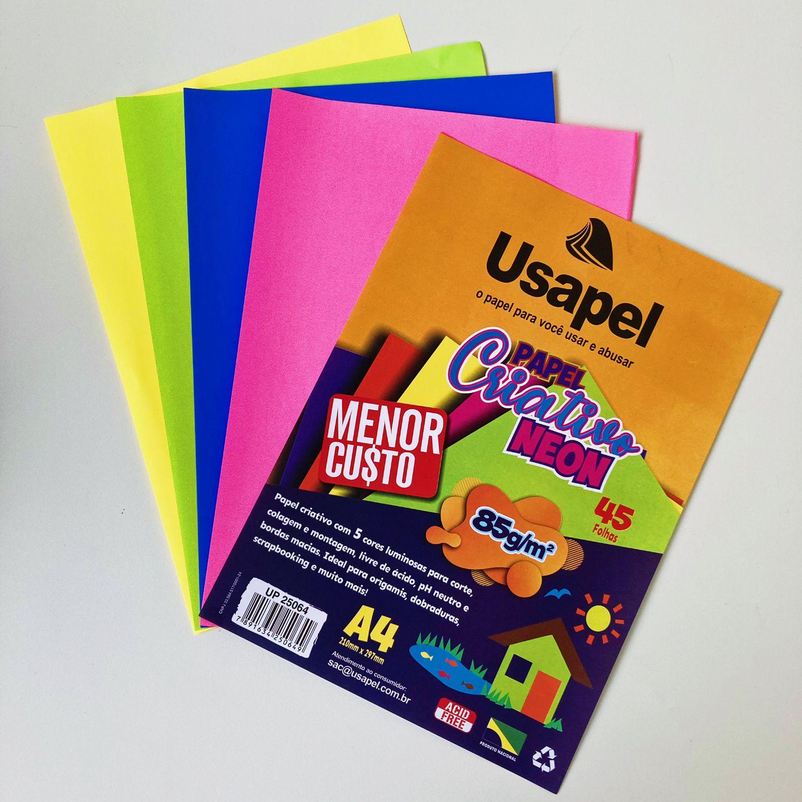 folhas de papel criativa com cinco cores neon luminosa   usapel