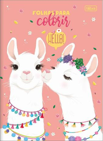 Folhas para Colorir Hello Lhama 16 desenhos 200x275mm | Tilibra