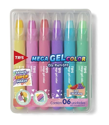 Giz de Cera Retrátil TRIS Mega Gel Color Cores Pastel | Tris