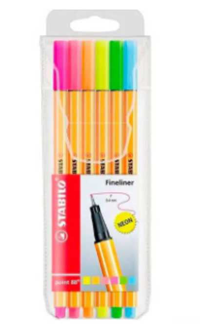 Kit Caneta Stabilo Fine Point 88 0.4 com 6 cores Neon   Stabilo