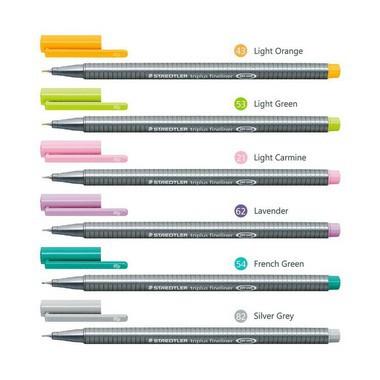 Kit com 6 canetas Triplus Fineliner 0,3mm Tons Pastel | Staedtler