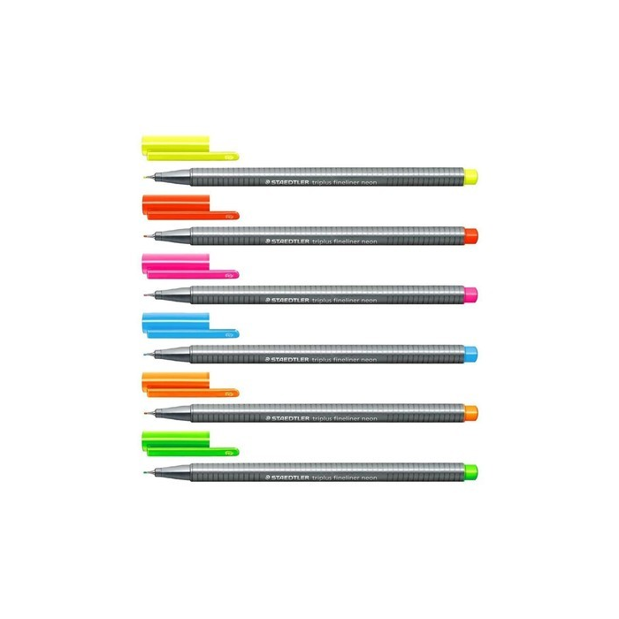 Kit com 6 cores de Caneta Triangular 0.3mm Fineliner Triplus Neon   Staedtler