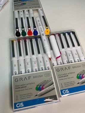 Kit GRAF Brush Fine Marcador Artístico ponta Tipo Brush com 6 cores | CiS