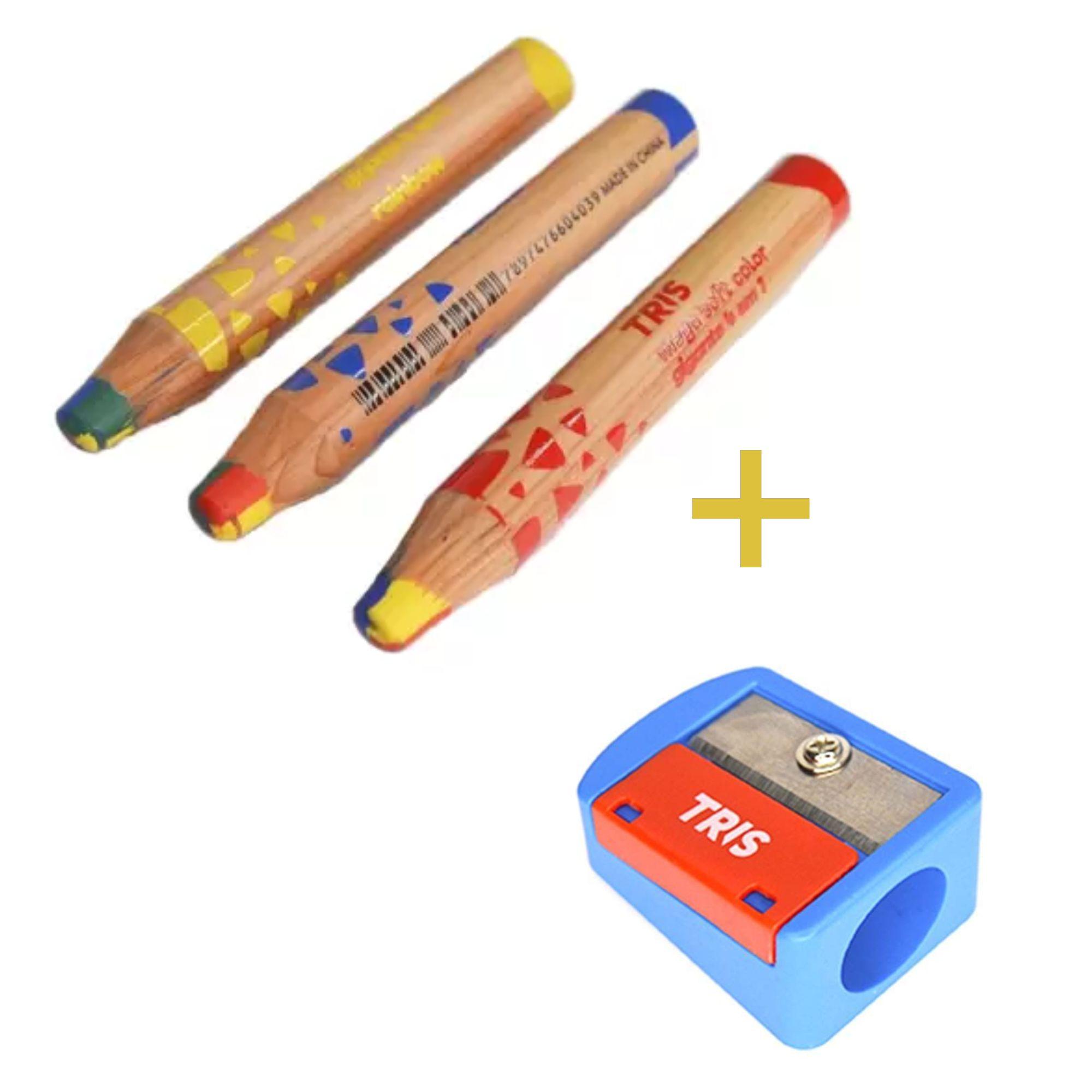 kit Lapis Cor Rainbow Jumbo e Apontador Gigante | Tris