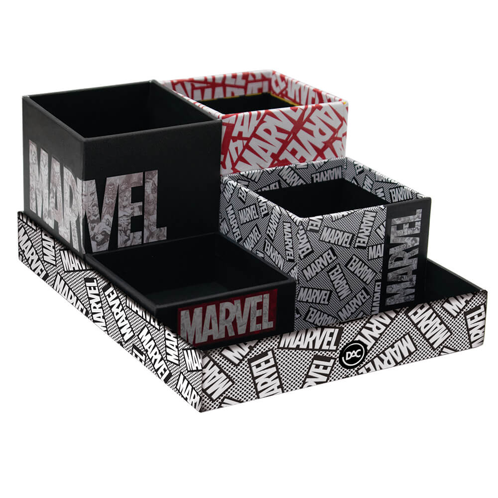 Kit Marvel Escritório 5 Peças Organizador de Mesa   DAC