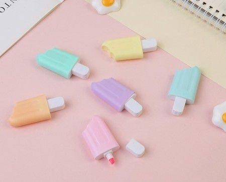Kit Mini Marca Texto Picolé Tons Pastel Com 6 Cores| Importado