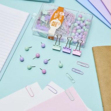Kit Office Tom Pastel 100 clips, 40 alfinetes e 10 binder | Leonora