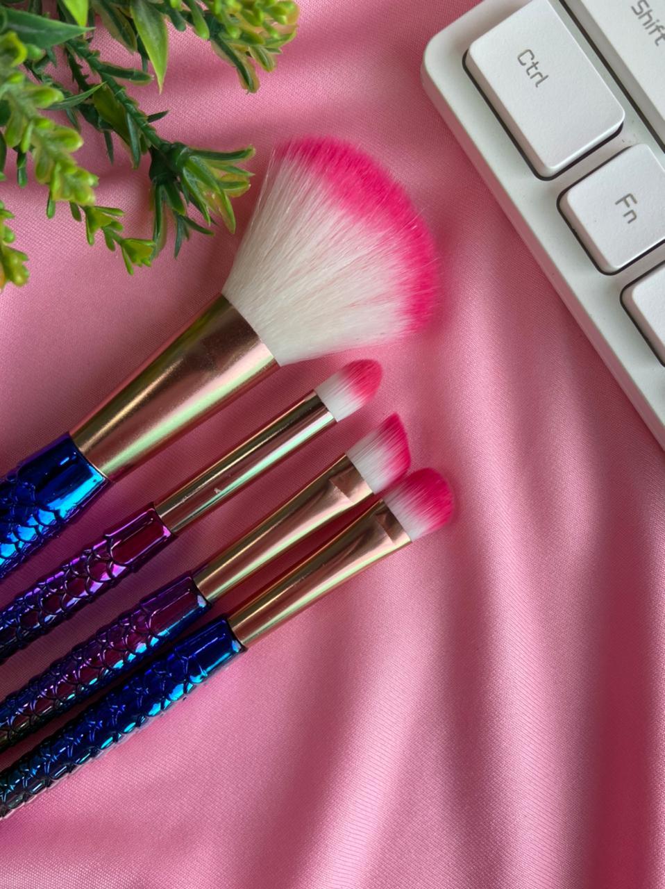 Kit Pinceis Maquiagem Sereia Colorido Para Olhos 4 Peças | Importado