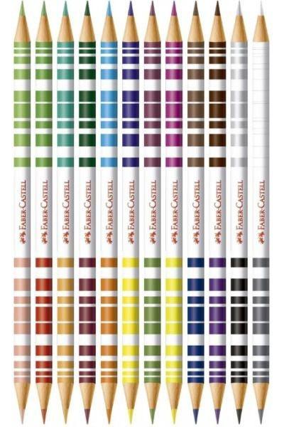 Lápis de Cor bicolor com 12 unidades e 24 cores + apontador, borracha e 2 lápis   Faber-Castell