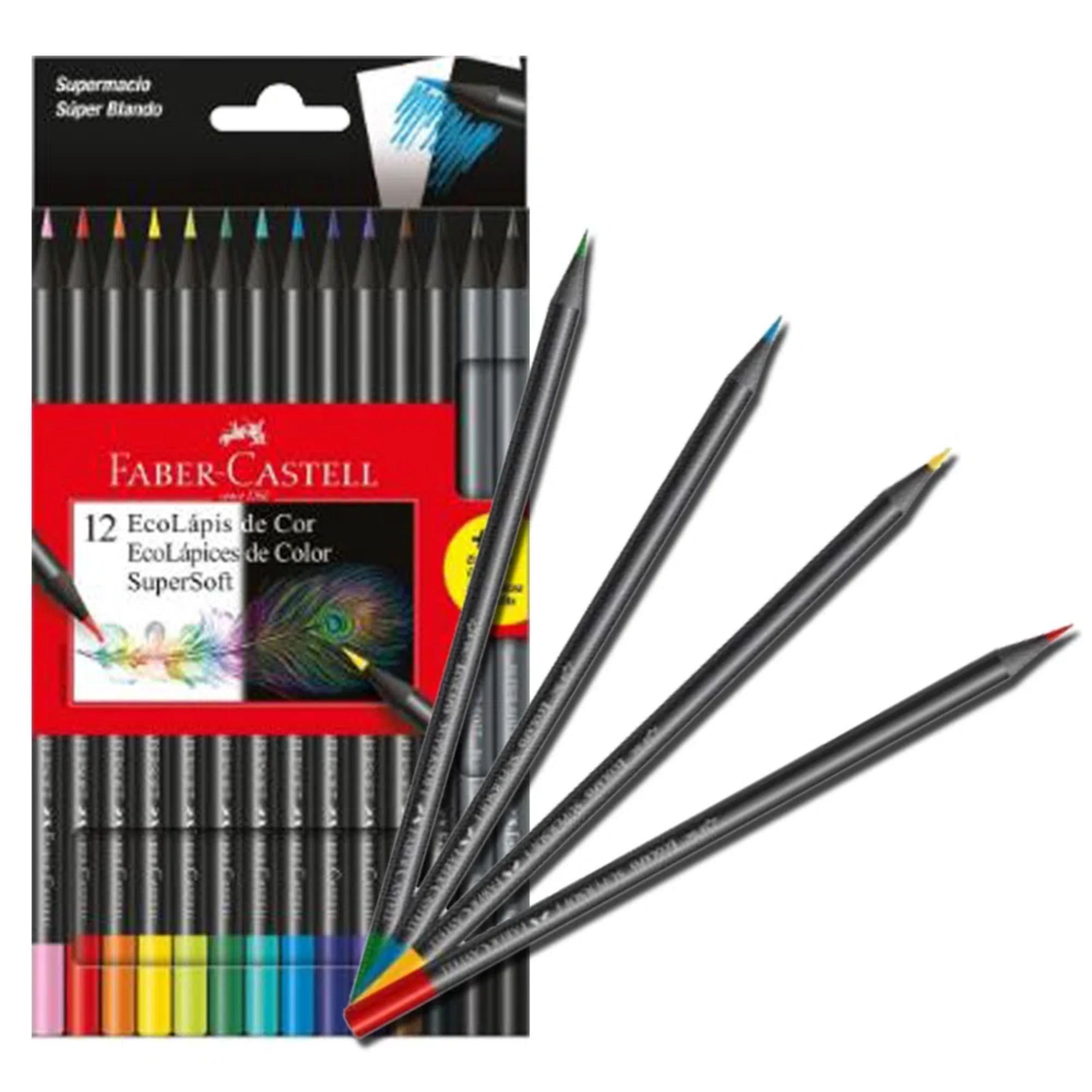 Lápis de Cor e Grafite EcoLápis Supersoft 12 Cores + 2 Grafites   Faber-Castell