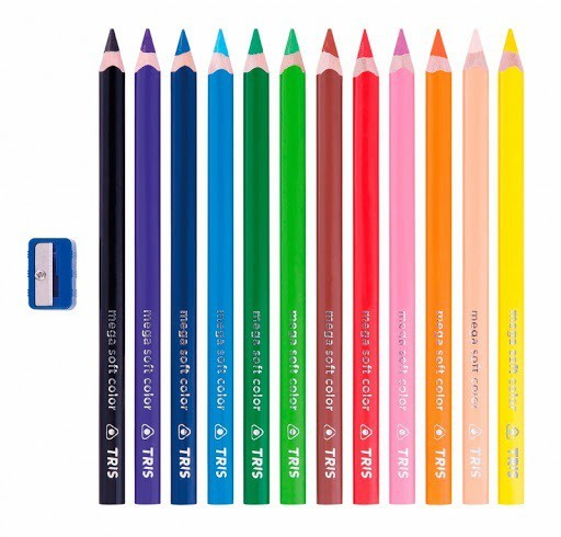 Lápis De Cor Mega Soft Color Jumbo 2 Em 1| Tris