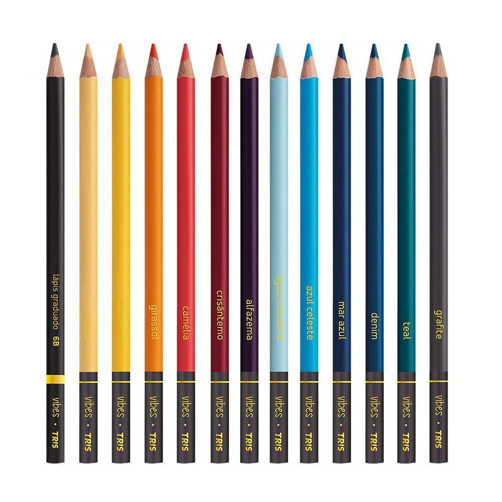 Lápis De Cor Vibes Tons Boho Chic 12 Cores e 1 Lapis 6B | Tris