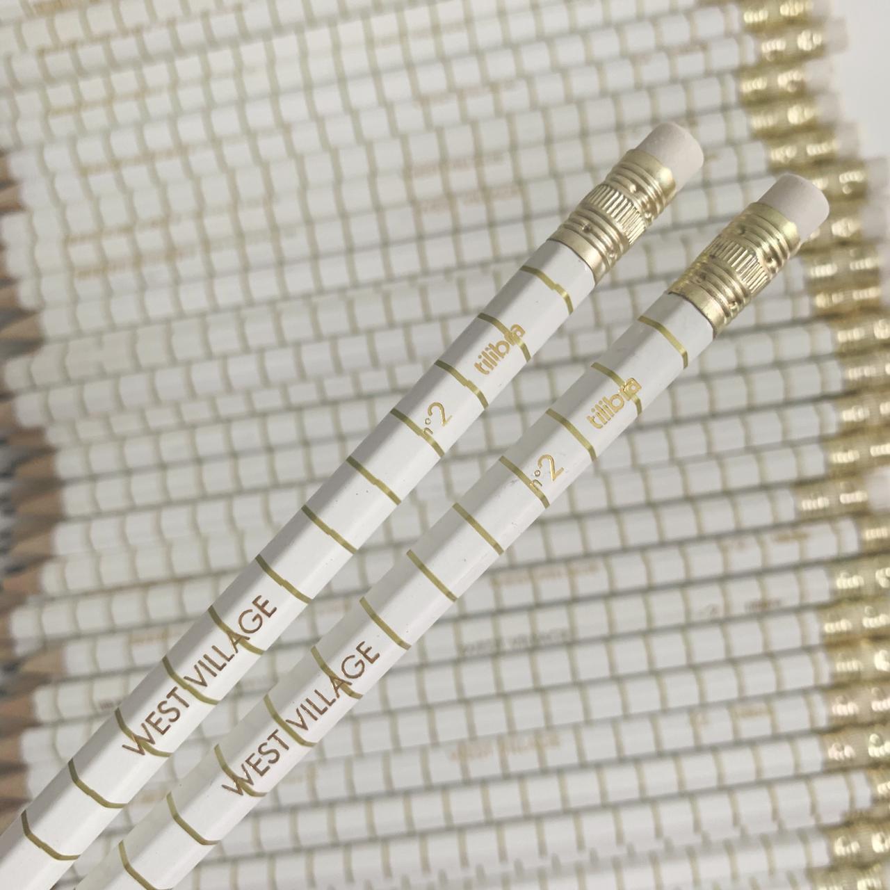 Lápis Grafite Branco e Dourado West Village | Tilibra