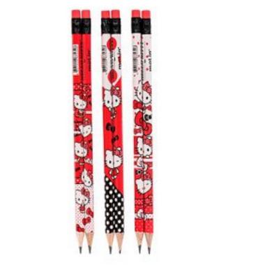Lápis Preto HB N° 2 Com Borracha Hello Kitty Vermelho   Estampas Variadas   Molin