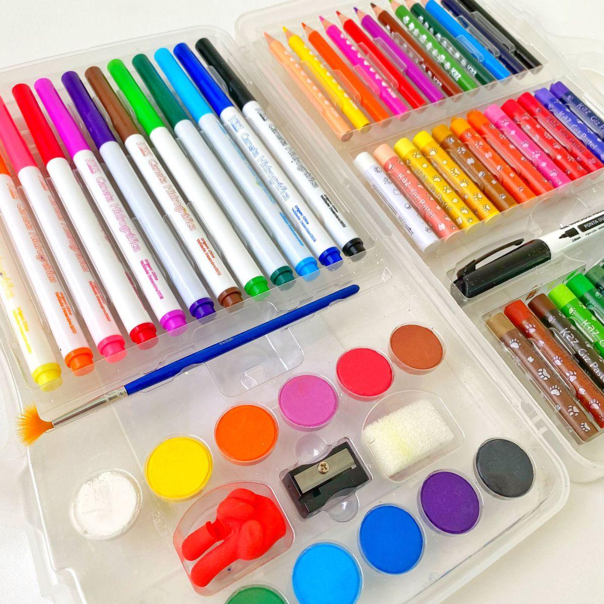 Maleta para Colorir Vários Itens - Giz, Hidrocor, Aquarela, Lápis de Cor + pincel | Kaz