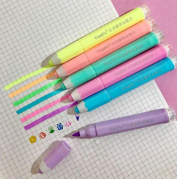 Marca Texto com carimbo Pastel Kit com 6 | Importado