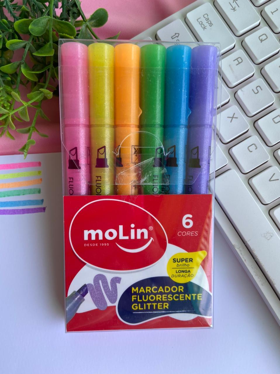 Marca Texto Fluorescente Glitter Estojo Com 6 Cores | Molin