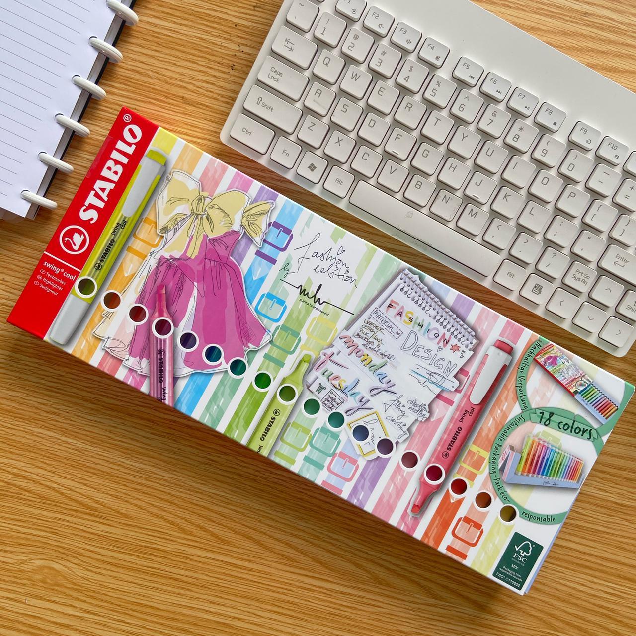 Marca Texto  Swing Cool Kit Fashion 18 Cores com Suporte |Stabilo