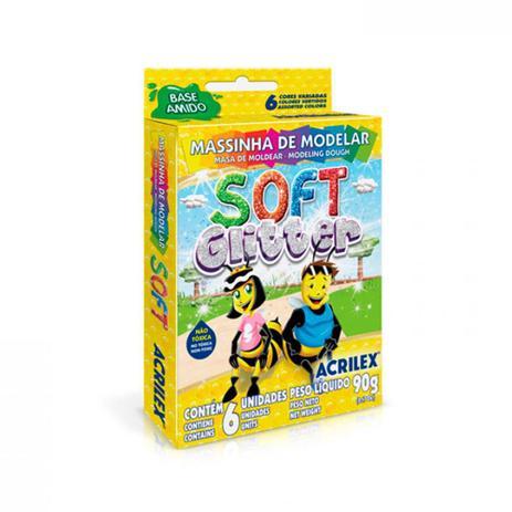 Massinha para modelar Soft com Glitter 90g | 06 Cores | Acrilex