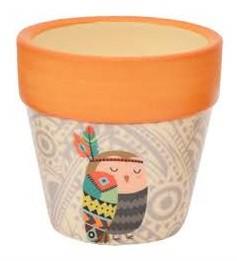 Mini Vaso Cachepot Cerâmica Boho Corujinha   Bras Continental