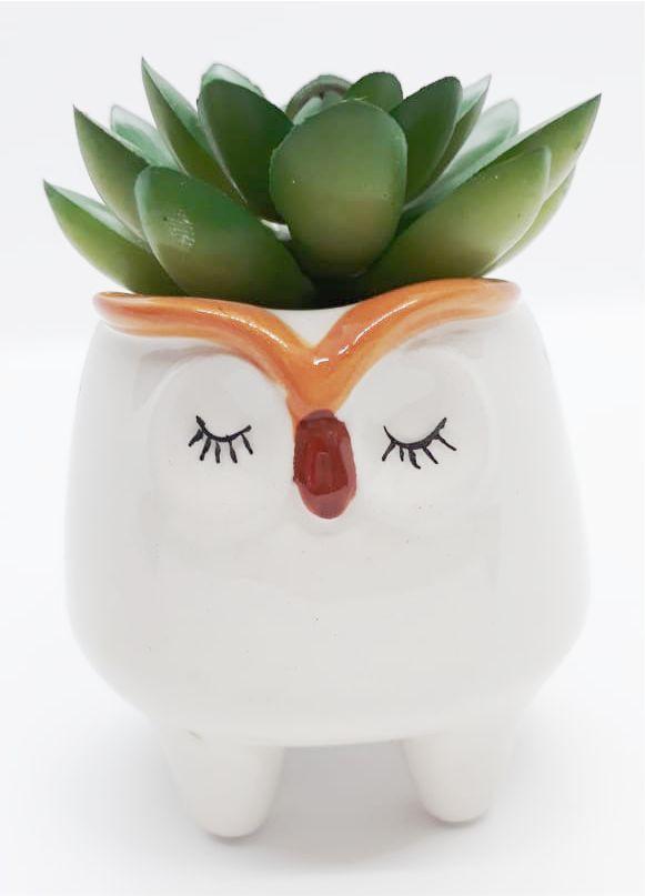 Mini Vaso Decorativo de Cerâmica de Coruja com Flor artificial Suculenta | FWB