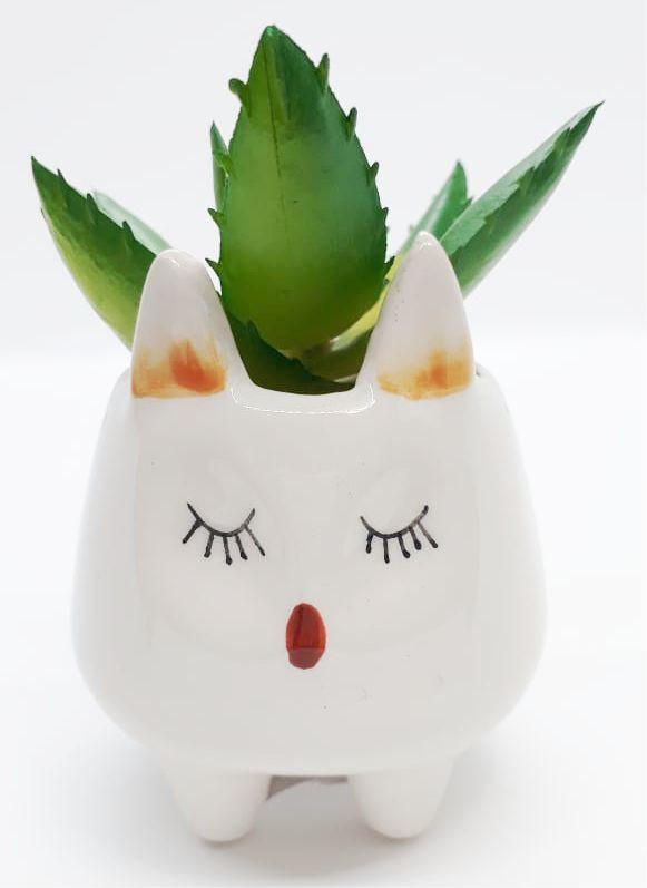 Mini Vaso Decorativo de Cerâmica de Raposa com Flor artificial Suculenta | FWB