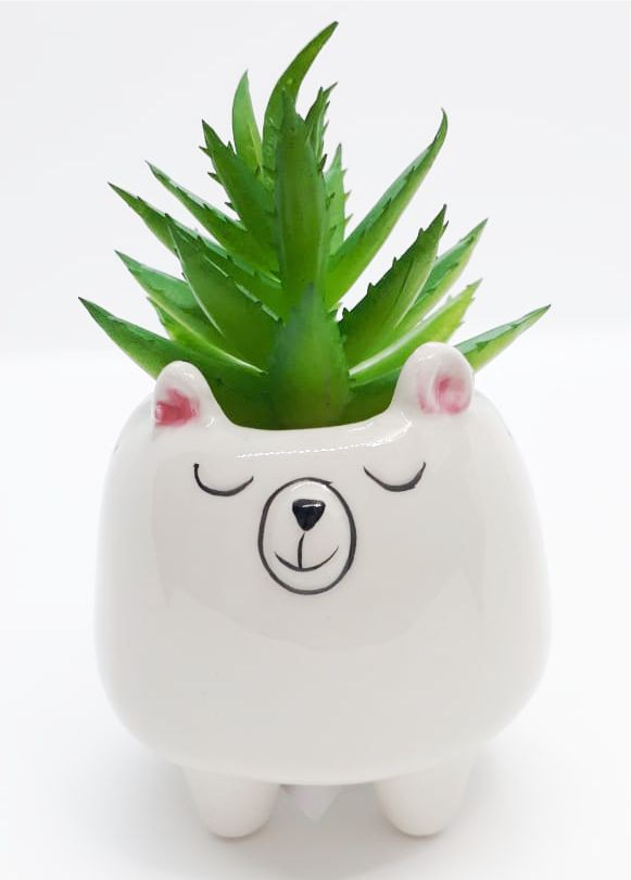 Mini Vaso Decorativo de Cerâmica de Urso com Flor artificial Suculenta | FWB