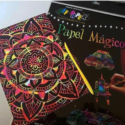 Papel Mágico Preto Raspadinha e Arco Íris vem com Vareta para Arranhar | Importados