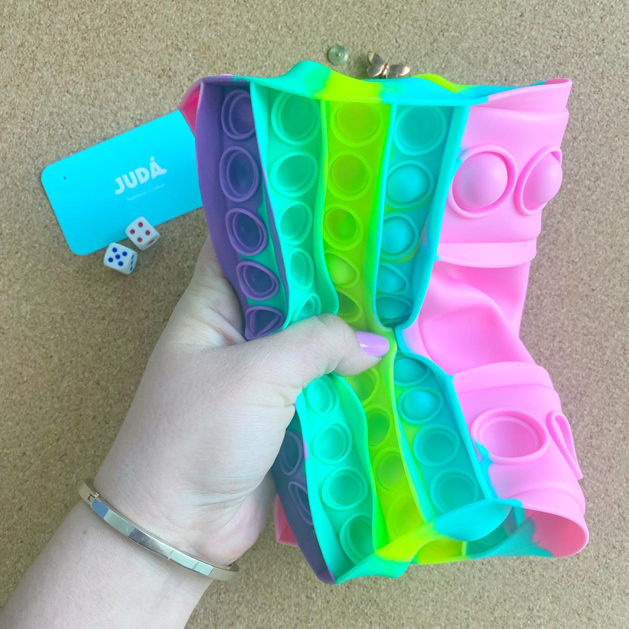 Jogo Dado Pop Popit de Silicone Fidget Toy Brinquedo Anti stress Relaxante Cor Tom Pastel| Importado