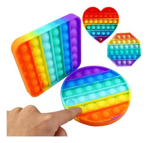 Pop Popit de Silicone Fidget Toy Top Game Anti stress Arco Iris Grande | Importado