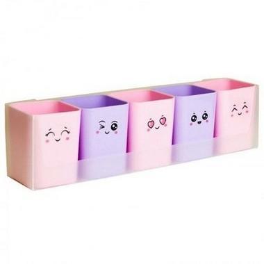 Porta Lápis Porta objeto com carinhas  Kit Doçura com suporte para 5 Porta Objeto e  adesivos | Dello