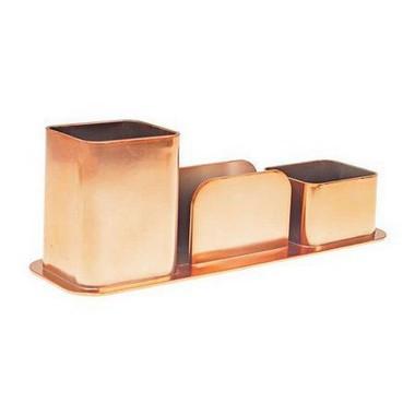 Porta Canetas, Clips e Lembretes Triplo Rose Gold Dellocolor | Dello