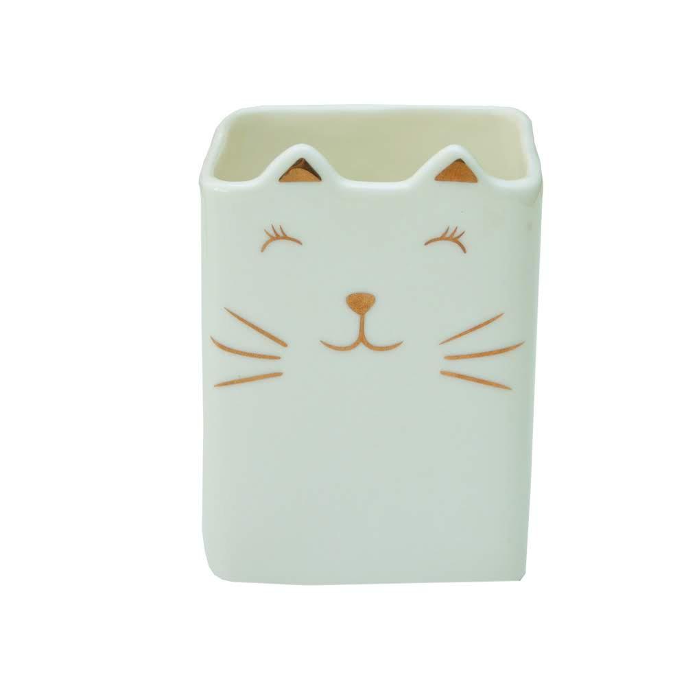 Porta Treco Gato Dourado 8x8x10,5 cm   Bras Continental