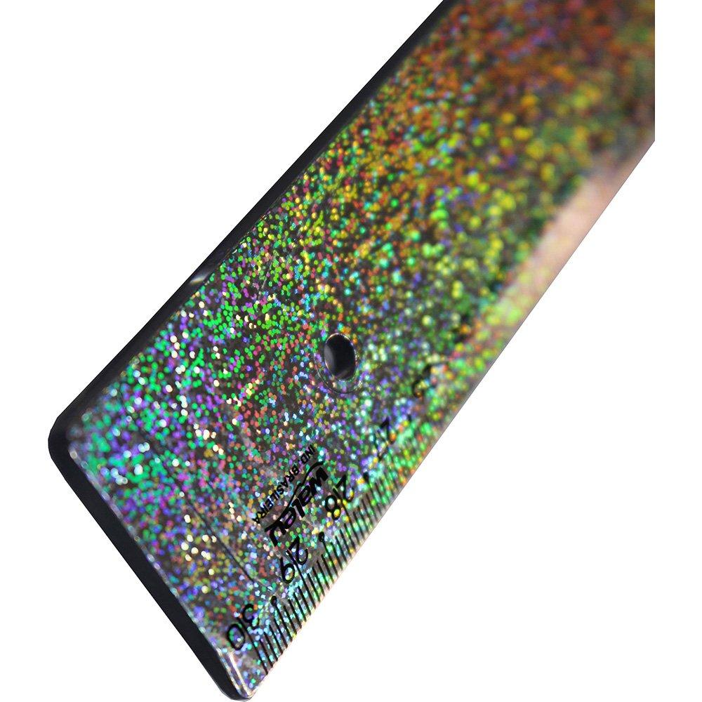 Régua 30cm New Line Holográfica Glitter   Acrimet