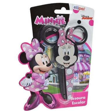 Tesoura Escolar Minnie Mouse com Ponta Redonda em Inox e Plástico   Etipel