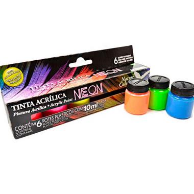 Tinta Acrílica Fosca para Artesanato 6 cores Neon 10 ml | Acrilex