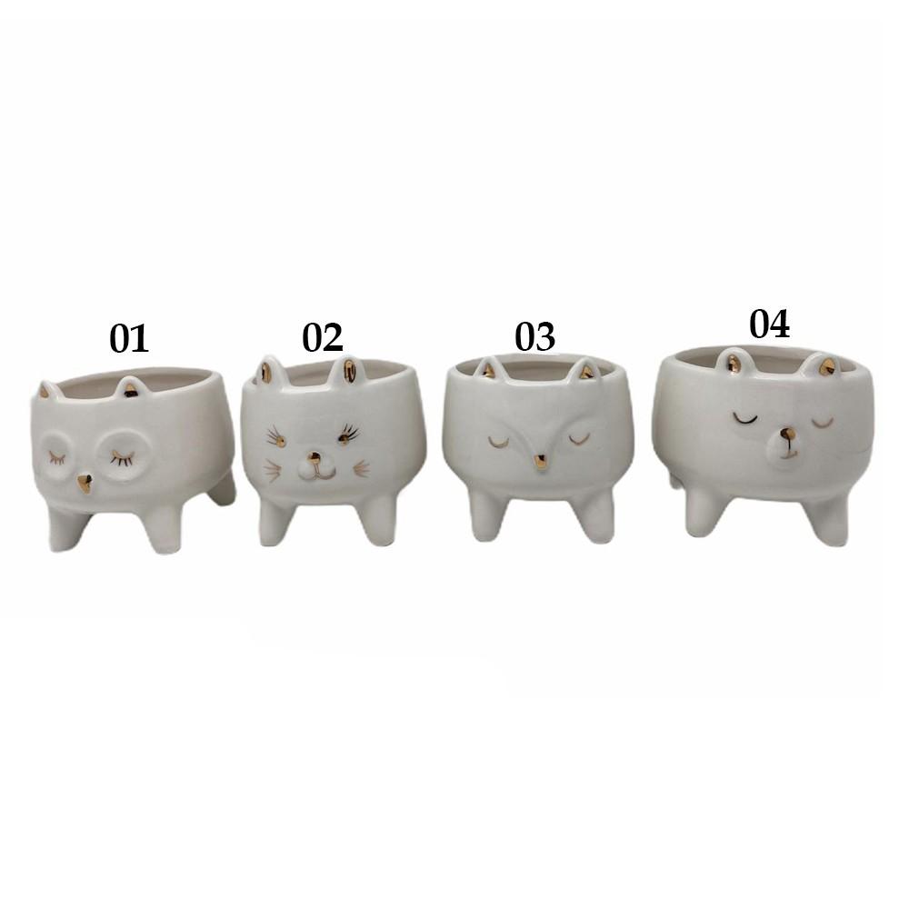 Vaso Cachepot Cerâmica Gatinho Cílios - Modelo 2| Fofo