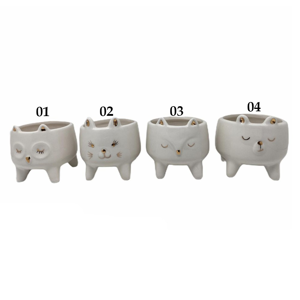 Vaso Cachepot Cerâmica Gatinho Cílios - Modelo 3| Fofo