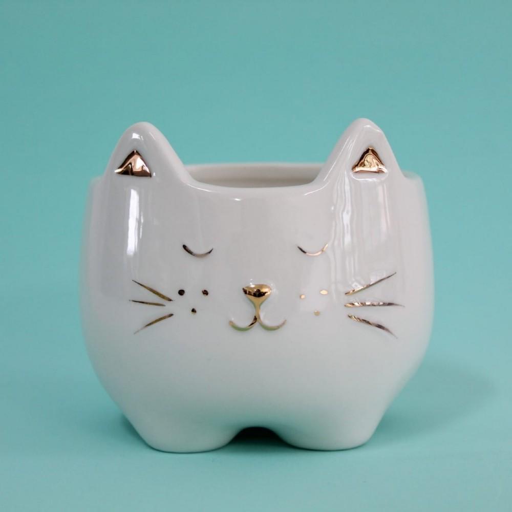 Vaso Cachepot Gato Dourado | Bras Continental
