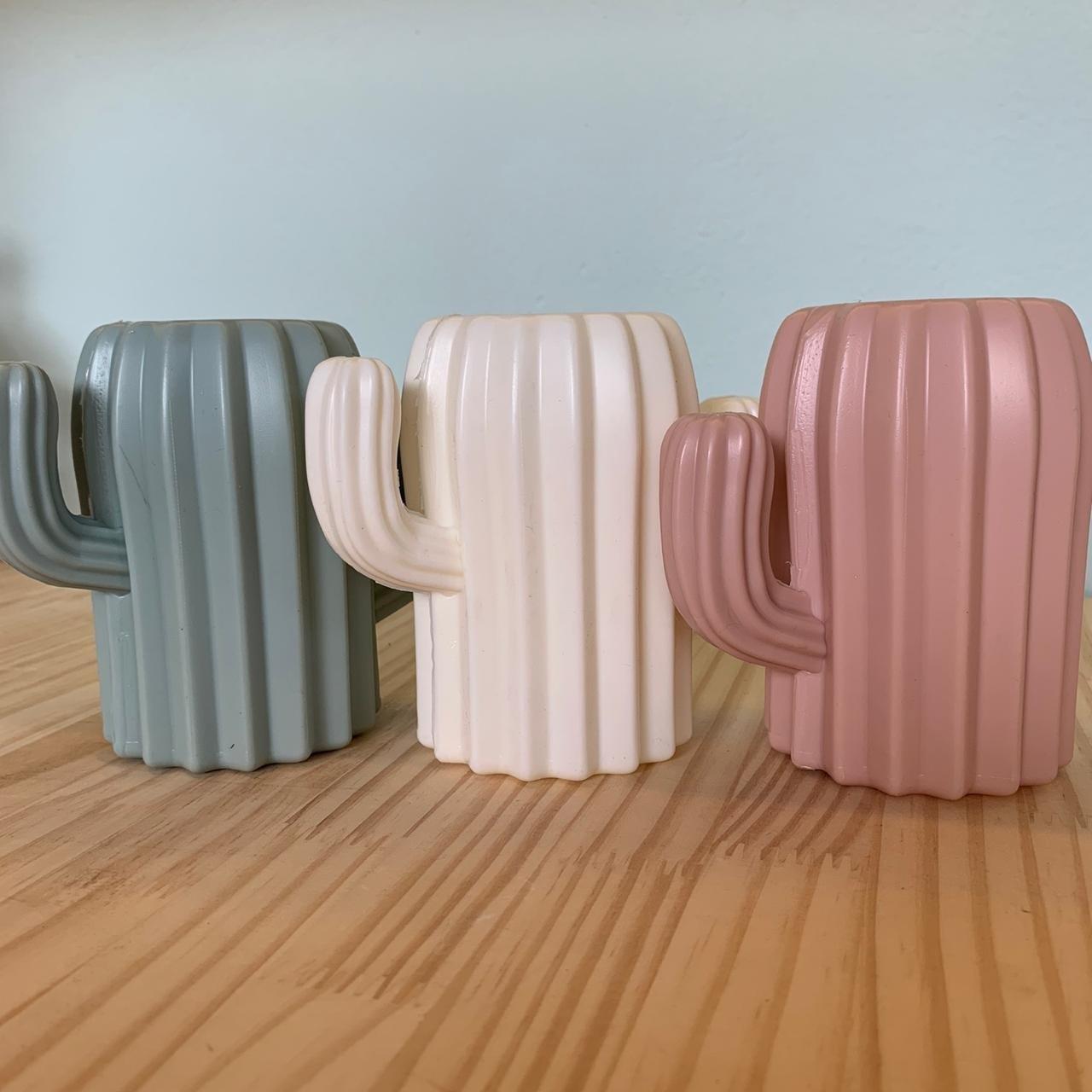 Vaso Decorativo de Plástico Cacto Colors Branco | Importado