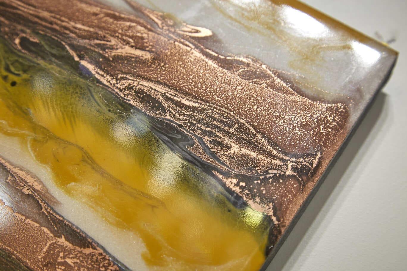 Quadro Decorativo Abstrato Textura Marrrom