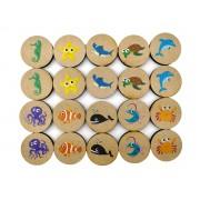 Jogo da Memória Fundo do Mar - Brinquedo Educativo em Madeira